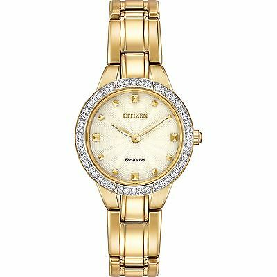 Citizen Eco-Drive Women's Silhouette Crystal Accents Gold Tone Watch EX1362-54P