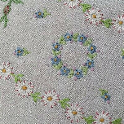 "Vintage hand embroidered linen tablecloth~Daisies & Forget-Me-Nots~42""x42"""