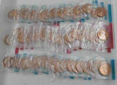 1973 P D & S Gem BU Lincoln Cent 75 Coin Lot x3 1/2 Roll Mint Sealed Cello CB548