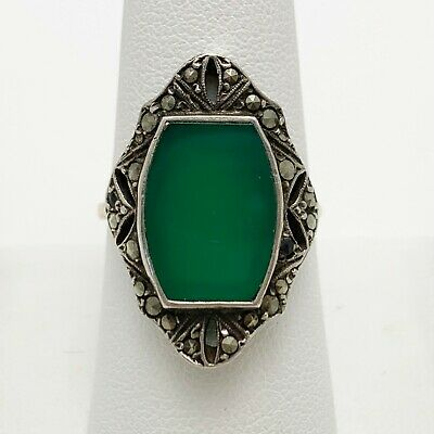 1930's Art Deco Chalcedony 14k Gold Sterling Silver Ring (1791D)