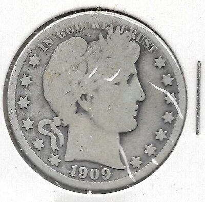 U. S. Barber Half Dollar,  50-cent piece, minted in 1909 (#1)