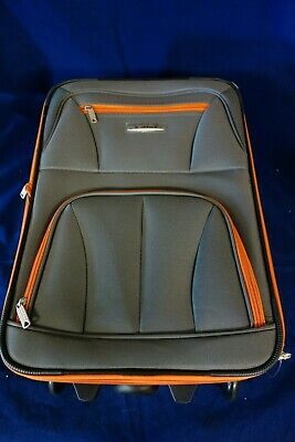 Rockland Rio Expandable 2 Piece Carry On Softside Luggage Set Charcoal/Orange