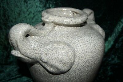 Chinese Porcelain Celadon Crackle Elephant Vase