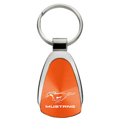 Ford Mustang on Orange Teardrop Keychain - Officially Licensed