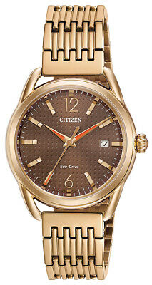 Citizen Eco-Drive LTR Women's Brown Dial Rose Gold Tone 34mm Watch FE6083-56X