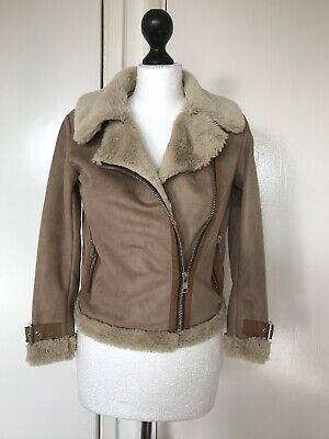 Next 10 Years Old Girl Tan Wrap Over Jacket Coat Faux Fur & Suede Waterfall
