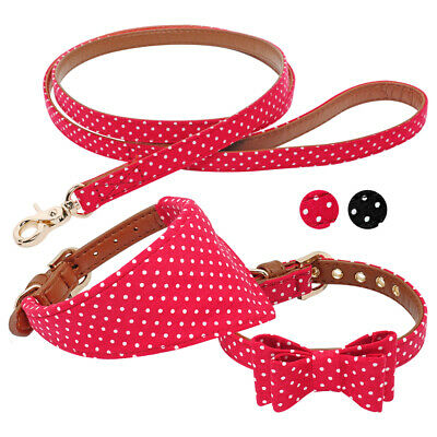 f6b856bfd236 Soft Leather Dog Bow Tie Collar&Bandana Collar&Leash Set Chihuahua Yorkie S  M L