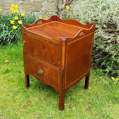 Regency Mahogany Inlaid Tray Top Gallery Commode Bedside Cabinet C1810