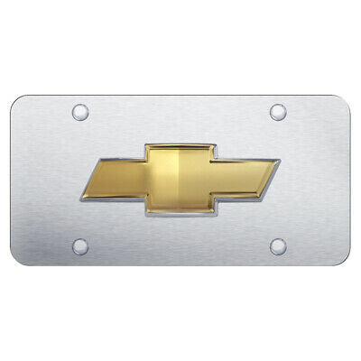 Bowtie OEM on Brushed Stainless Steel License Plate for Chevrolet