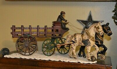 "Early Antique Kenton Cast Iron Two Horse Drawn (12) Stake Wagon Authentic 15"" L"