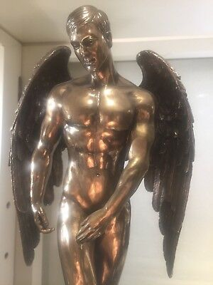 Nude Male Statue Bronze color Angel with Wings Standing Sculpture NEW $139