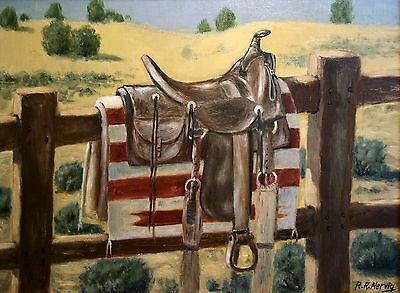 ANTIQUE WESTERN SADDLE, giclee print  by Richard R. Nervig