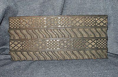 Large Antique Hand Carved Detailed Dark Wood Textile Fabric Wallpaper Stamp EUC
