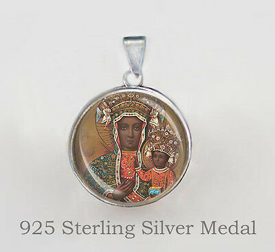 Black Madonna of Czestochowa Virgin Mary Catholic Medal Sterling Silver 925