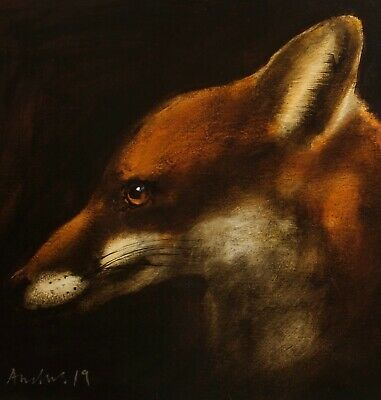 FOX PORTRAIT : ORIGINAL OIL PAINTING : Countryside Wildlife Art by David Andrews