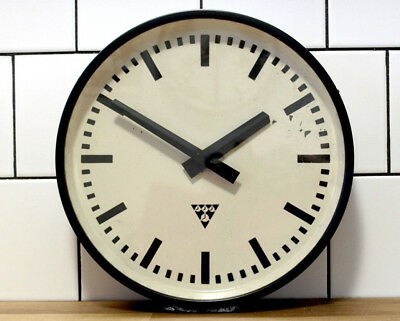 battery operated PRAGOTON wall clock - metal industrial loft vintage - black