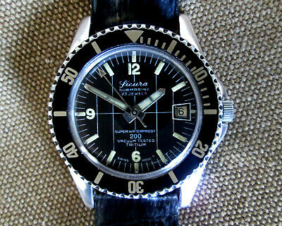 Sicura Submarine 200 Vintage Vacuum Test Tritium Diver Hand Winding Men's Watch