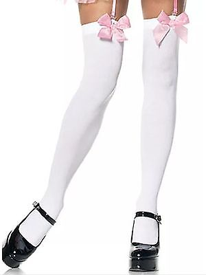b839c7084e59d6 OPAQUE THIGH HIGHS w/SATIN BOWS Stockings OVER-THE-KNEE School Girl ...