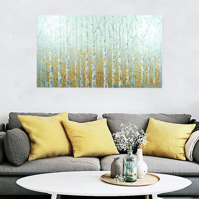 Hand Painted Art Canvas Oil Painting Modern Wall Decor Framed - Birch Forest