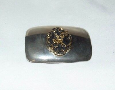 """Vintage SQUARE DANCING Silver Gold-tone Belt Buckle 2""""x3.25"""" Made in USA"""