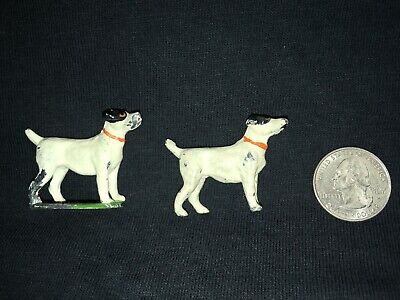 2 - Very Rare Antique Painted Pewter Minature Black + White Pointers Germany