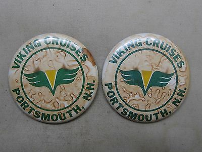 Lot Of Two Vintage Viking Cruises Portsmouth, N.h. As Is Buttons Pins