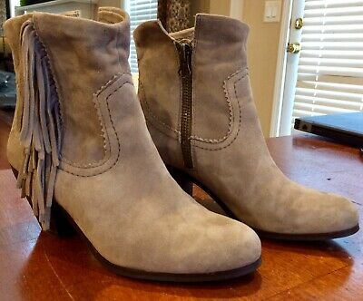 ef4edb0e7 Women s Sam Edelman Louie Leather Fringe Zip Ankle Boots Sz 8 Gently Used