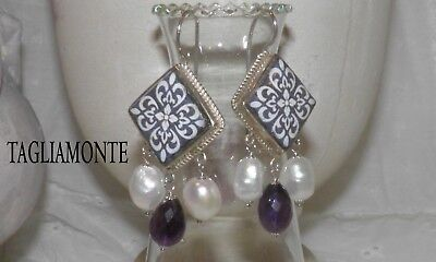 Price Reduced*TAGLIAMONTE(959)Earrings*SS925*Sicilian Lavastone+Amethyst+Pearls