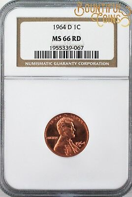 ~1964 D NGC MS 66 RD Lincoln Memorial Cent 1C One Penny (L85)~