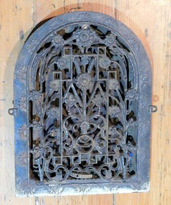 Antique Cast Iron Floral Grate - Vent AWESOME - Tombstone