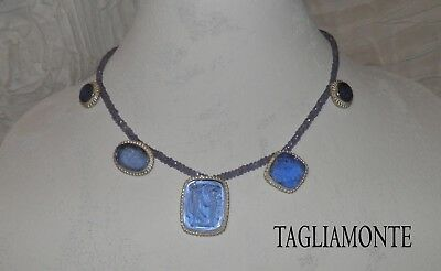 Price Reduced*TAGLIAMONTE(963)Iolite Bead Necklace*SS925*5 Blue Venetian Cameos