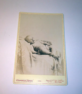 Antique Cabinet Photo of Adorable Baby W/ Cloth Diaper Dated:1893 Identified!