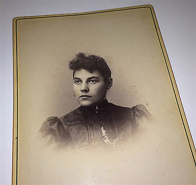 Antique Victorian Fashion Lovely Woman, Floral Top & Chain, Fob NY Cabinet Photo
