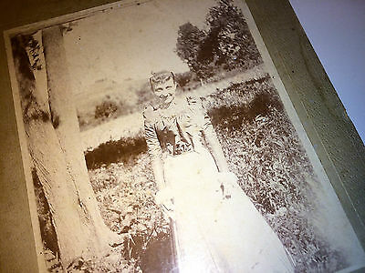 Antique Cabinet Photo of Victorian Girl in Lovely Dress! Outdoor Floral Field!