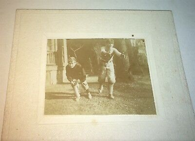 Rare Antique American Football Playing Boys! Uniforms & Pads! Mini Cabinet Photo