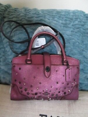 d2e35b39a Coach Mercer Satchel 24 in Metallic Leather With Star Rivets/59146/NWT/395