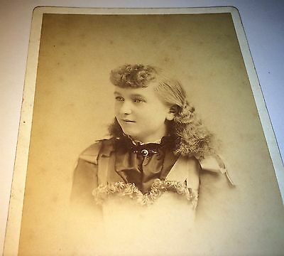 Antique Victorian American Beautiful Young Girl Lovely Fashion! NJ Cabinet Photo