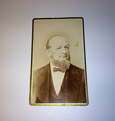 Antique CDV Photo of Victorian Man W/ White Beard in Tuxedo w/ Bow Tie! Michigan