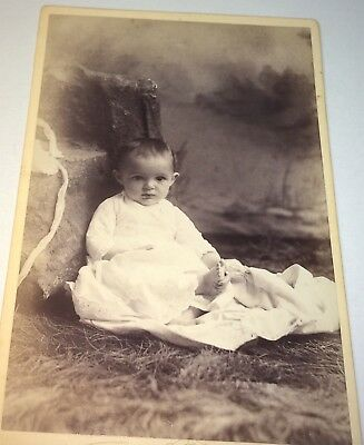 Antique Victorian American Child, Bonnet Off! Holding Foot! MA Cabinet Photo! US