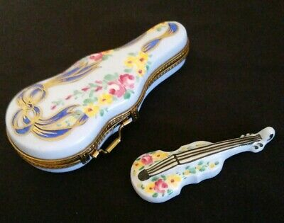 Vintage Limoges France Porcelain Violin and Case Trinket Box #050/050 Signed RLD
