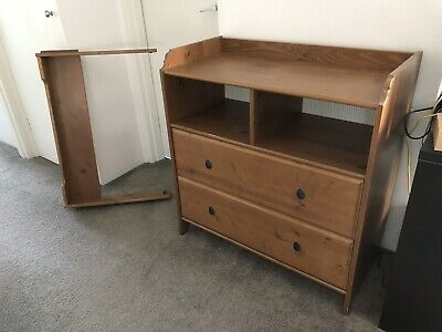 Baby Changing Tabke With Storage Draws In Great Condition In Rustic Wooden Style