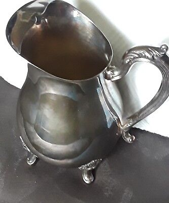 "Ornate Alvin P561 Silver Plate Footed Water Pitcher with Ice Lip Vintage 9"" Tall"