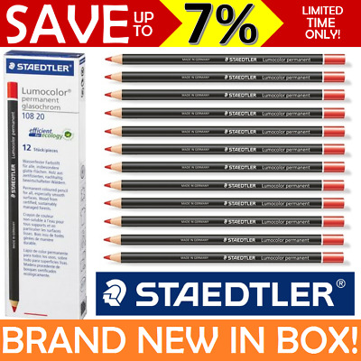 12x RED NEW BOX Staedtler Glasochrom Chinagraph Lumocolor Permanent Pencil