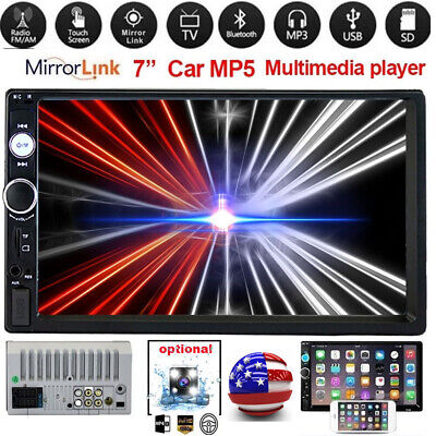 2Din 7' HD Touch Screen Android IOS Car Stereo Radio MP5 Player FM USB TF Camera