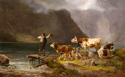 Excellent oil painting animals cowhand with cows cattle sheep by the dusk river