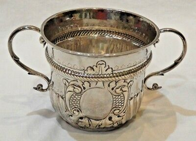 18th Century Timothy Ley London Silver Two-Handle Decorative Cup