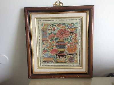 Antique/Vintage Chinese Embroidery Texttile Tapestry  (Scholar Vase)
