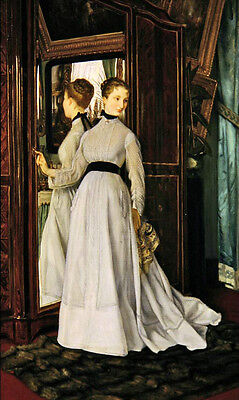 Oil painting James Jacques Joseph Tissot - The Wardrobe young woman portrait