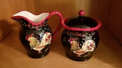Tuscan Rooster Sugar and Creamer  April Cornell
