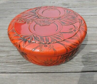 Kamakura-Bori Covered Bowl Carved Lacquer Ware Japan Vintage Large